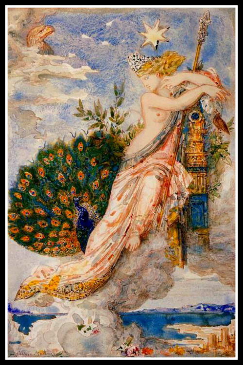 """""""The Peacock complaining to Juno"""", by Gustave Moreau (1881)."""